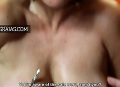 Mature slave nipple twisted and clamped