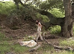 girl play with pussy outside and woods