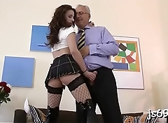 Amateur youngster takes a much older pecker in her tight cunt