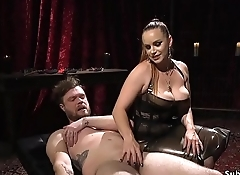 Male slave fucks mistress with dickgag