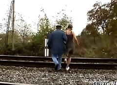 Steamy old and young action with fat dude banging hot honey