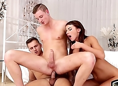 Muscular hunk drills ass and eats tight pussy
