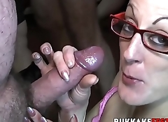 Nasty bukkake sluts munching on cocks and balls