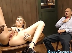 Babe cuckolds with cum
