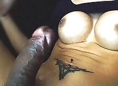 Long Mint Cums On Own Tits