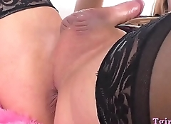 Busty shemale anal toys and masturbates her hard cock
