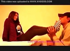 girl doing slave smelling lick her stocking foot with sneakers converse all star 2