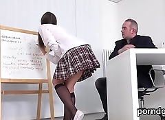 Lovable schoolgirl gets seduced and banged by senior schoolteacher