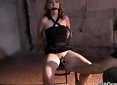 Restrained slave gets gagged and toyed