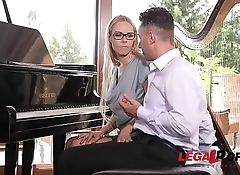 Kinky piano teacher Florane Russel double penetrated with dick &amp_ sex toy GP256
