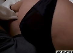 Hot step mom slides into son'_s bed for sex