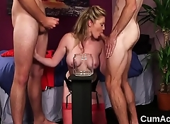 Foxy stunner gets cumshot on her face swallowing all the sperm