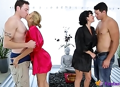 Two lusty cougars ride hard dicks