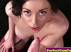 British beauty cocksucking for facial cumshot