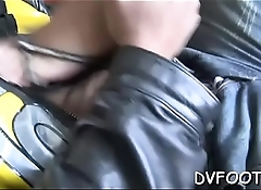 Babe enjoys foot fetish grinding cock and balls with feet