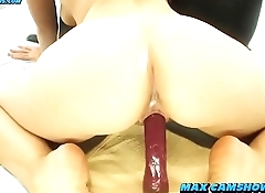 Squirting Creamy Shaved Pussy With Anal Dildo