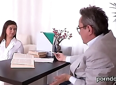 Elegant bookworm is tempted and pounded by older schoolteacher