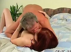 Kinky old dude gets lucky with a tight juvenile pussy
