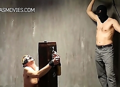 Blonde bitch tied to a pole and whipped