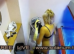 Beautiful girl with nice big breasts masturbates under the www.solarium.tv