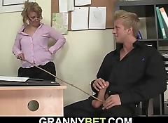 He seduces and fucks busty old mature office woman