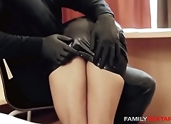 Oiled Up Step-Daughter Gets Massaged By Daddy In Latex Gloves